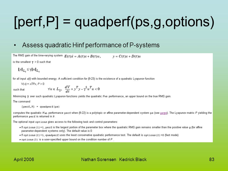 [perf,P] = quadperf(ps,g,options)